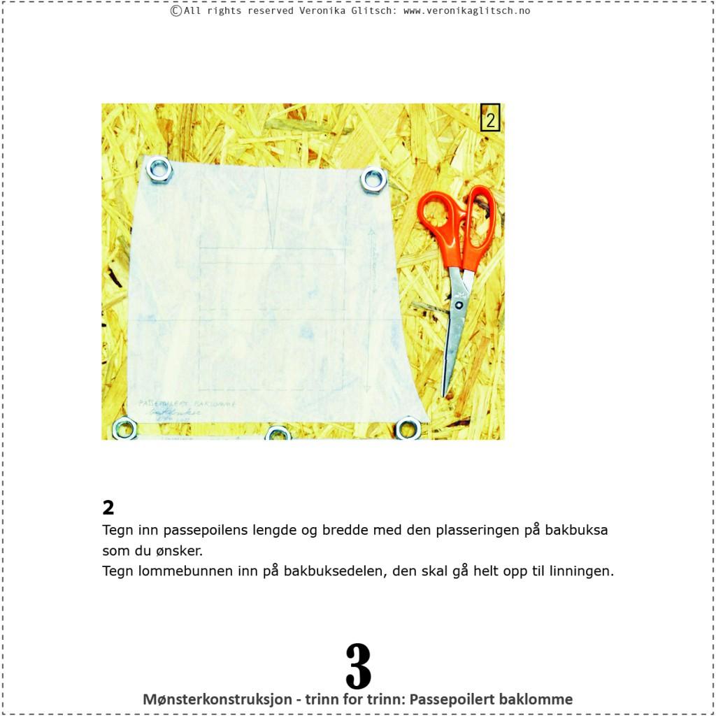 Passepoilert baklomme, mønsterkonstruksjon3