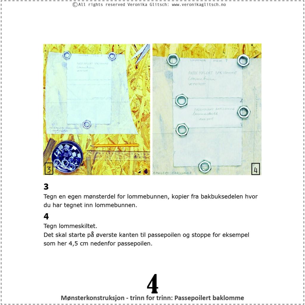 Passepoilert baklomme, mønsterkonstruksjon4