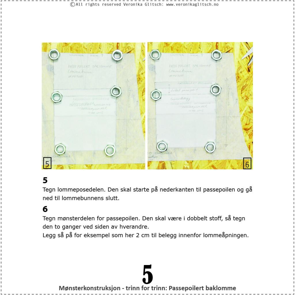 Passepoilert baklomme, mønsterkonstruksjon5