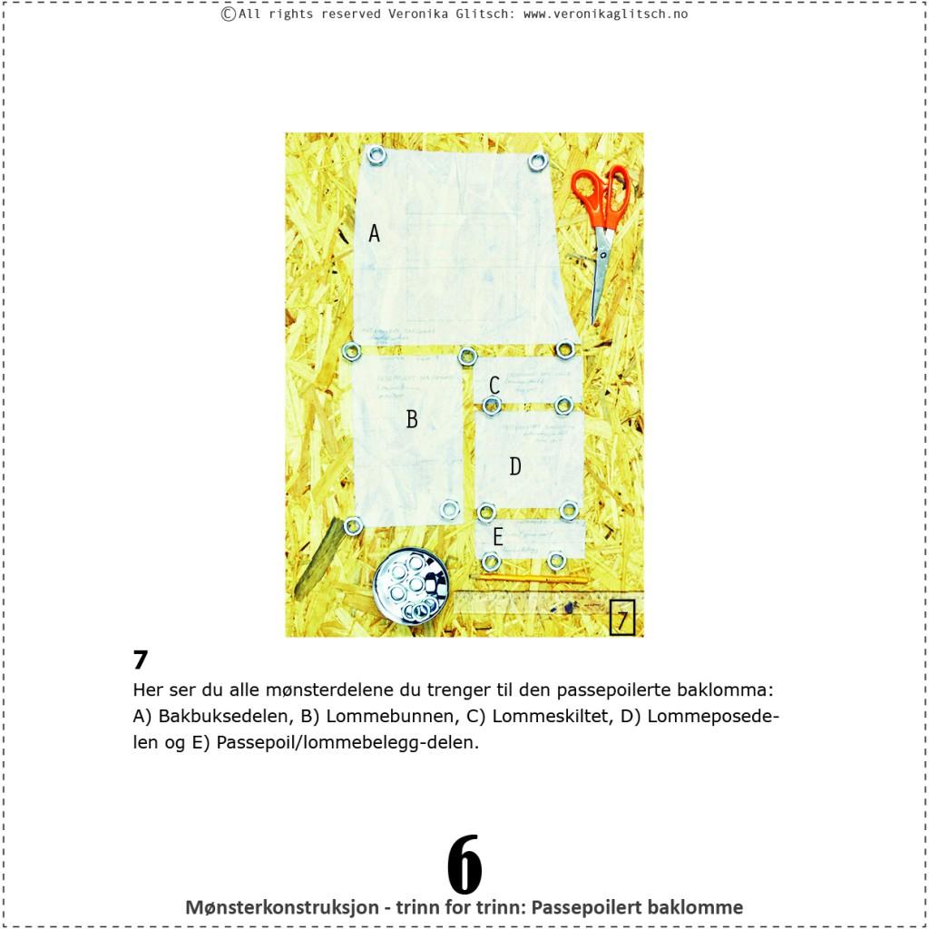 Passepoilert baklomme, mønsterkonstruksjon6
