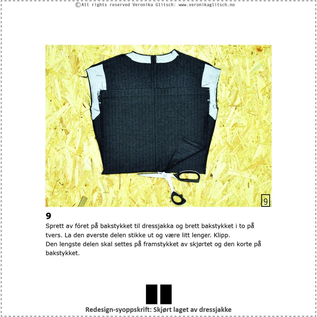 Skjørt laget av dressjakke, redesignsyoppskrift11