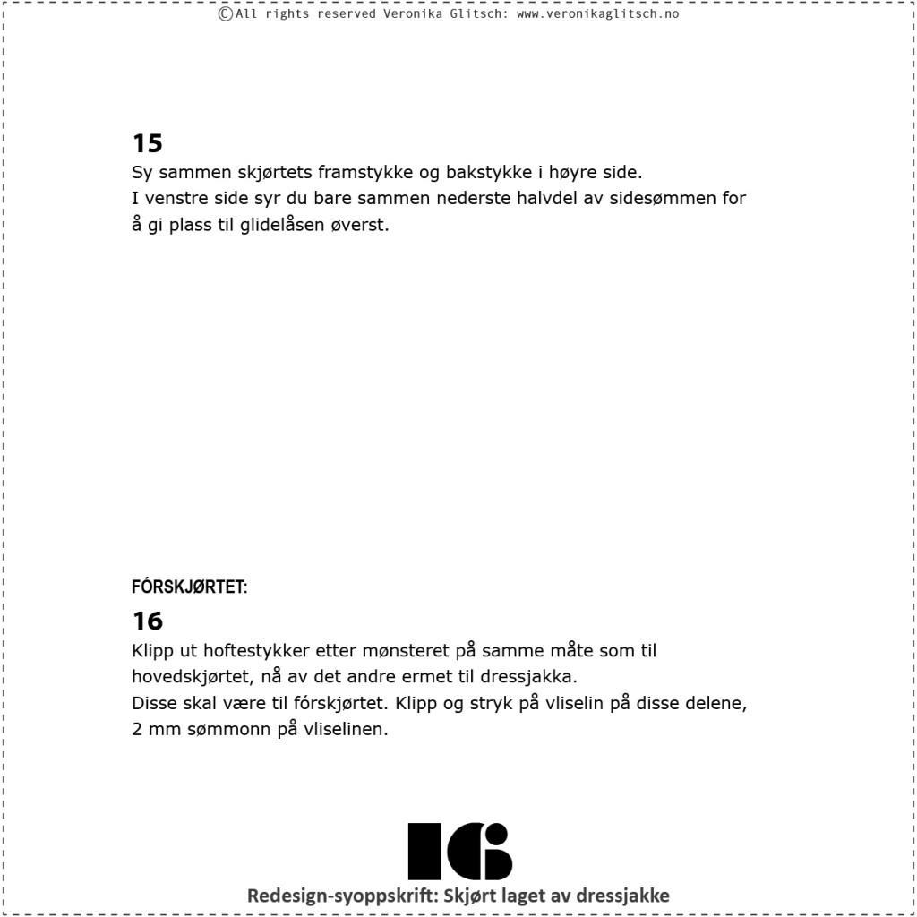 Skjørt laget av dressjakke, redesignsyoppskrift16