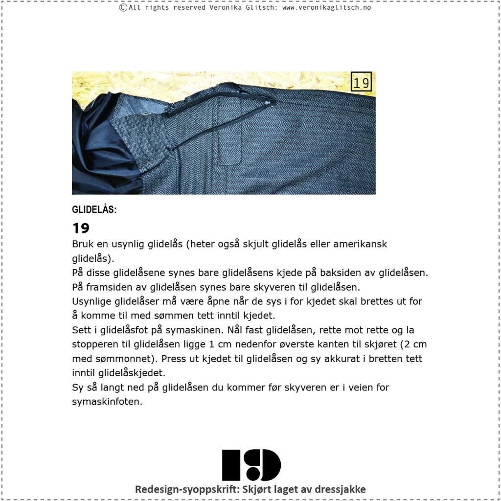 Skjørt laget av dressjakke, redesignsyoppskrift19