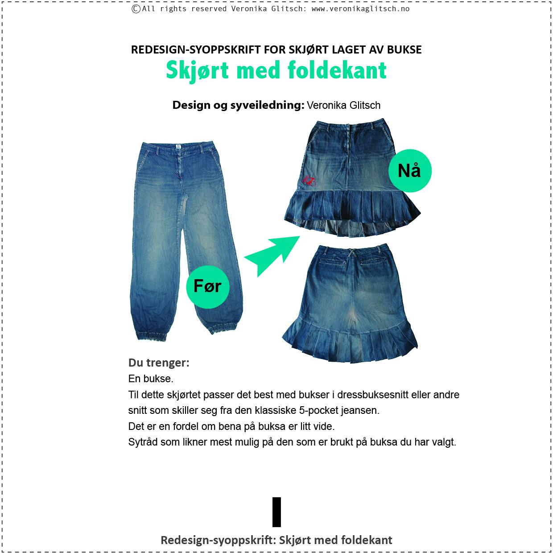 Skjørt med foldekant, bloggredesignsyoppskrift